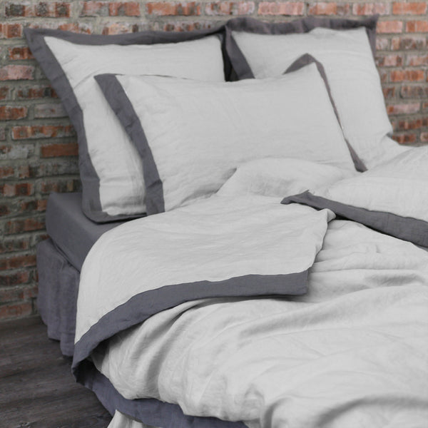 French color Border Doona Cover in Washed Linen