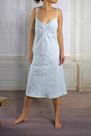 V Neck Washed Linen Nightgown Icy Blue