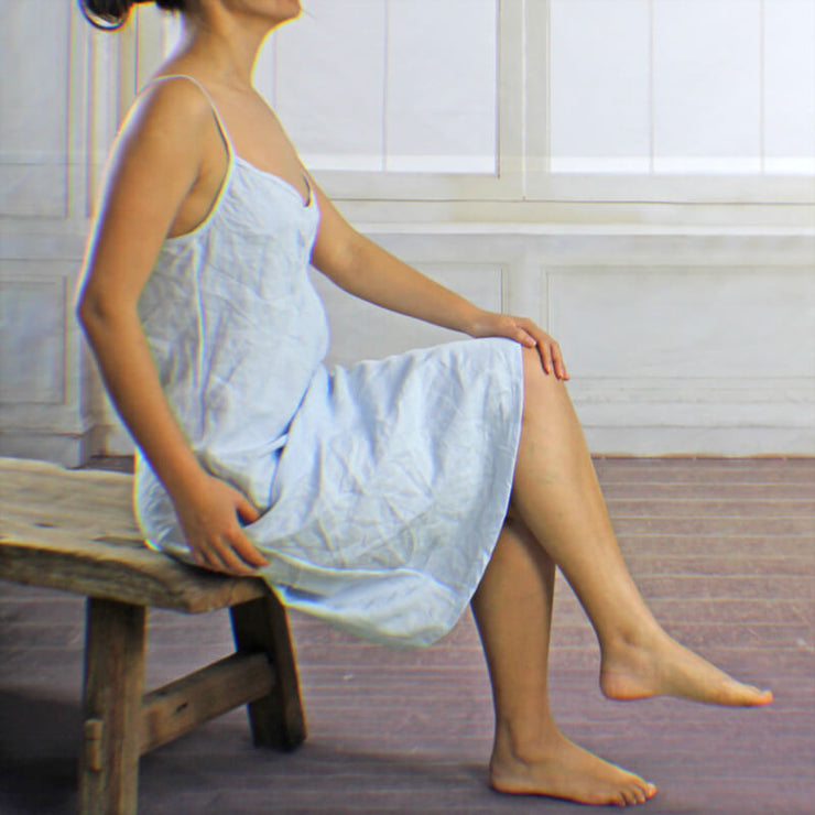 V Neck Washed Linen Nightgown