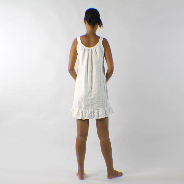Sleeveless Linen Sleep Dress With Ruffle At Bottom Hem