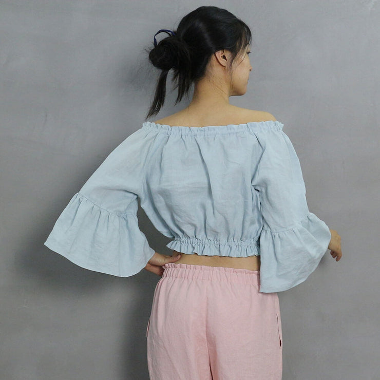 Off the Shoulder Ruffled Stripped Top 4 - Linenshed