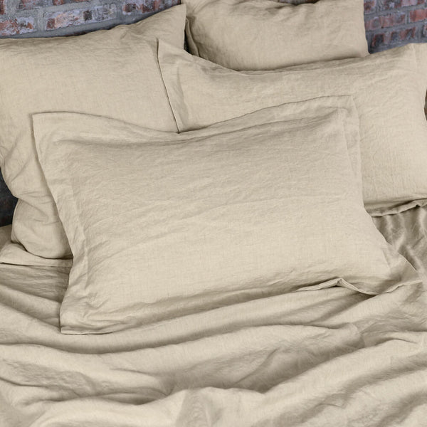 Linen Flanged Pillow Cover Natural