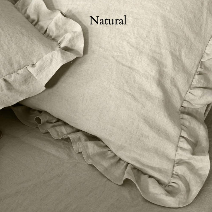 Natural Linen Ruffles Shams (set of 2)