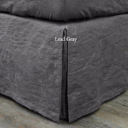 Split-Corner Linen Bedskirt Lead Gray