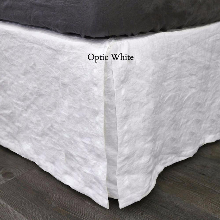 Split-Corner Linen Bedskirt Optic White