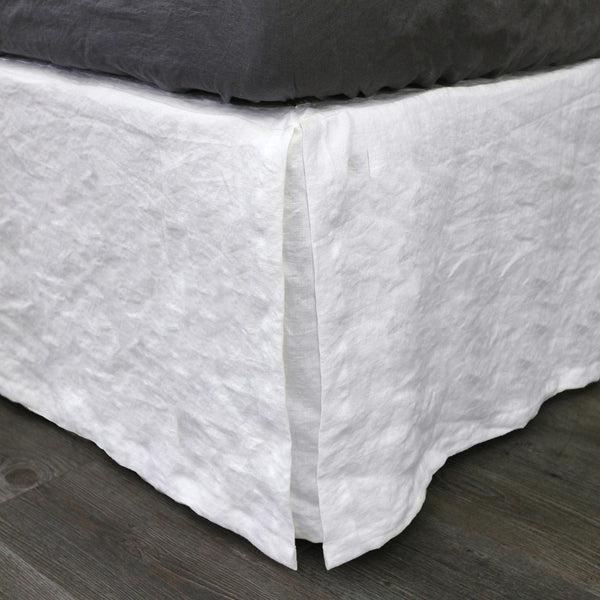 Split-Corner Linen Bed Skirt in Optic White