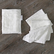 Linen plain Table Napkins With White Pouch