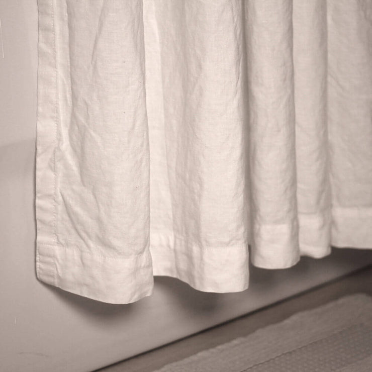 Linen Plain Shower Curtain in Optic White - Linenshed