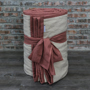 100 % Washed Linen Quilted Bedspread Brick/Natural