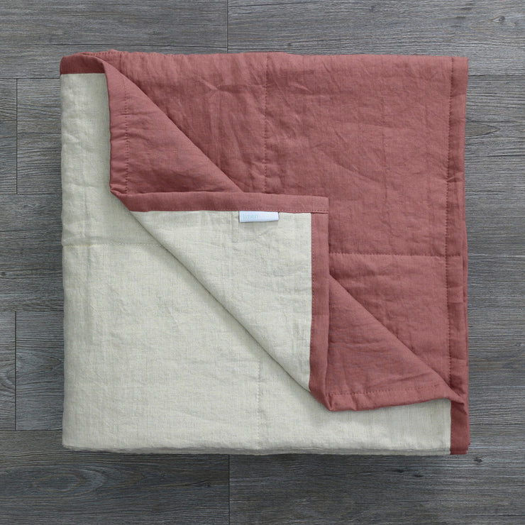Pure Linen Quilted Bedspread Brick/Natural