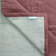 Close up Linen Quilted Bedspread Brick/Natural