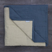 Pure Linen Quilted Bedspread French Blue/Natural