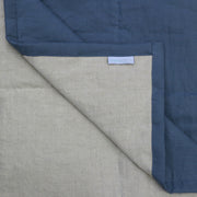 Close up Linen Quilted Bedspread French Blue/Natural