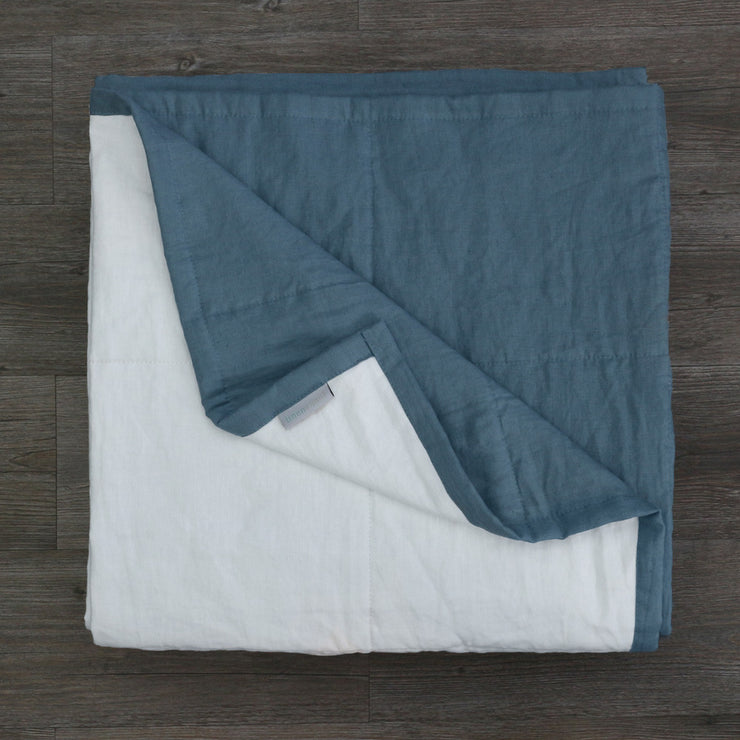 Pure Linen Quilted Bedspread Optic White/French Blue