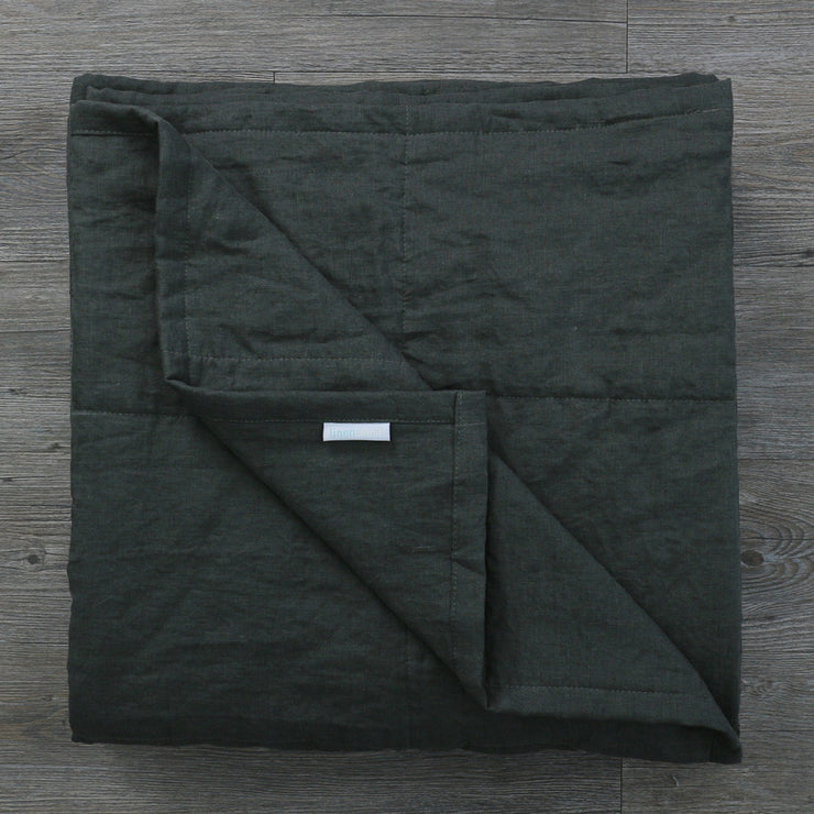 Pure Linen Quilted Bedspread Black Olive