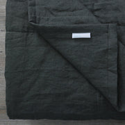 Close up Linen Quilted Bedspread Black Olive
