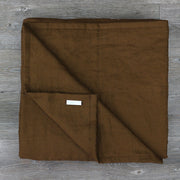 Pure Linen Quilted Bedspread Earth Brown