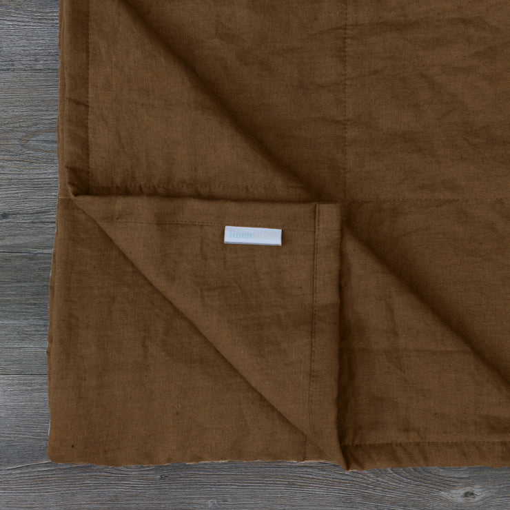 Close up Linen Quilted Bedspread Earth Brown