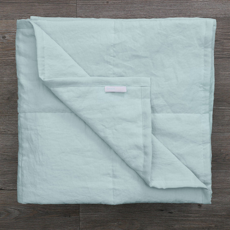 Pure Linen Quilted Bedspread Icy Blue