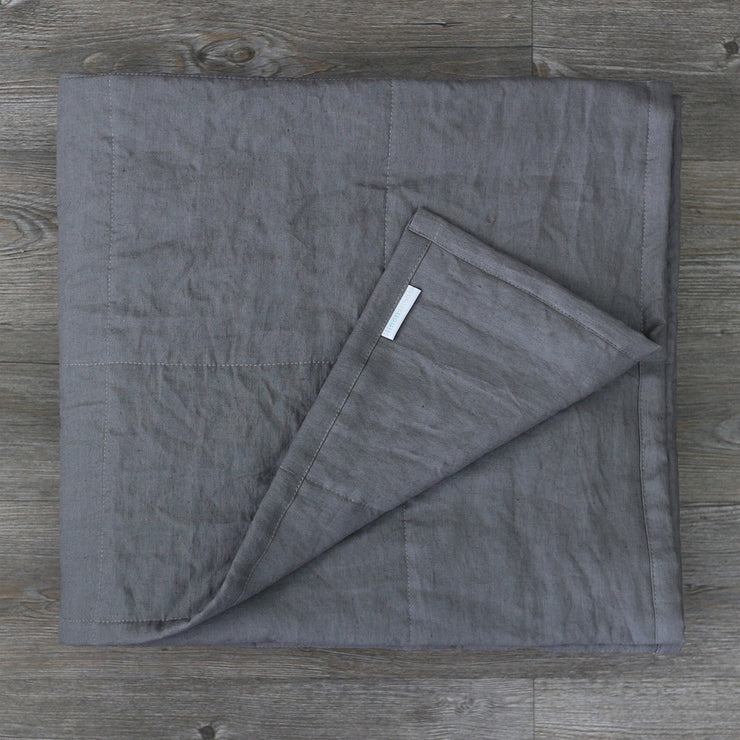 Pure Linen Quilted Bedspread Lead Gray