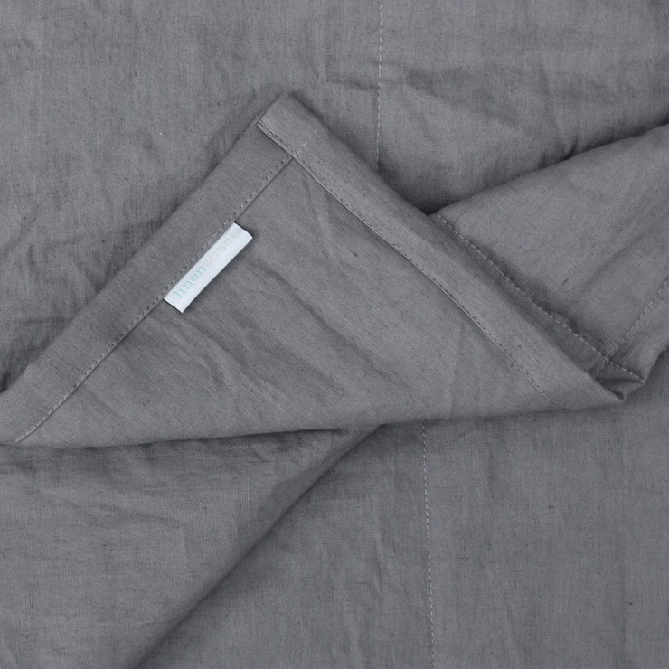 Close up Linen Quilted Bedspread Curry
