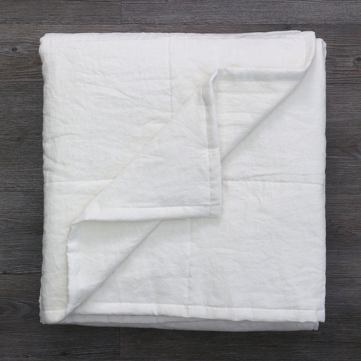 100 % Washed Linen Quilted Bedspread Optic White - Folded