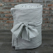 100 % Washed Linen Quilted Bedspread Stone Grey