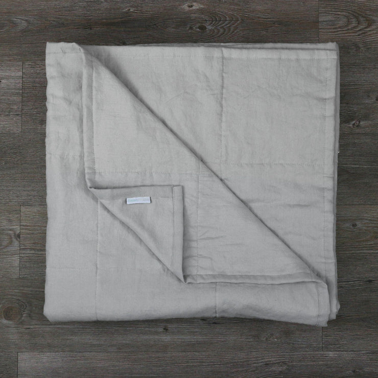 Pure Linen Quilted Bedspread Stone Grey