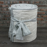 100 % Washed Linen Quilted Bedspread Stone Grey / Chalk