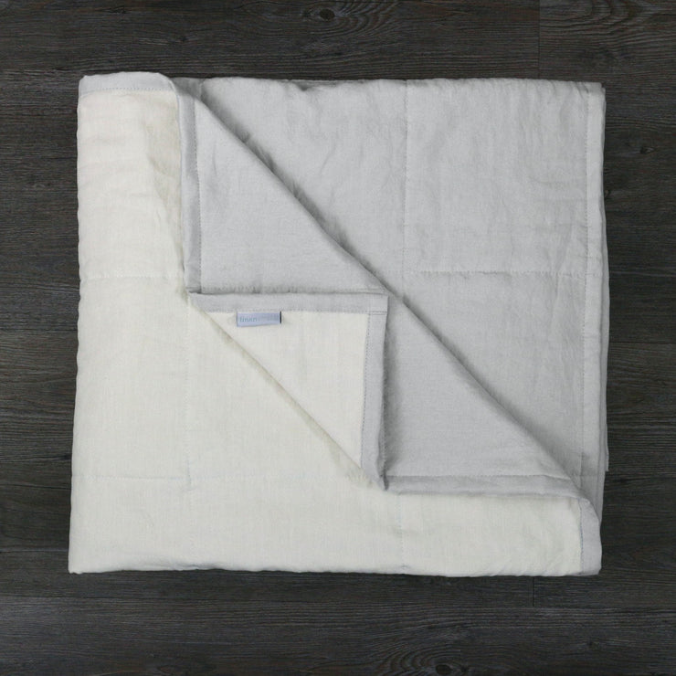 Pure Linen Quilted Bedspread Stone Grey / Chalk