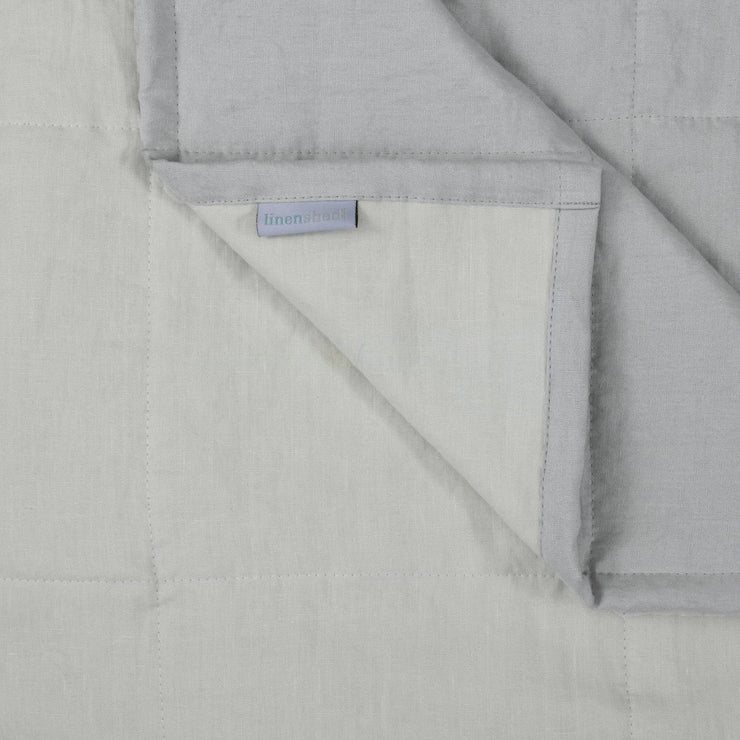Close up Linen Quilted Bedspread Stone Grey / Chalk