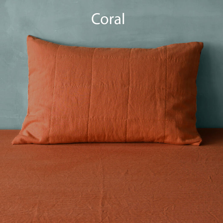 Quilted Linen Pillowcase Coral