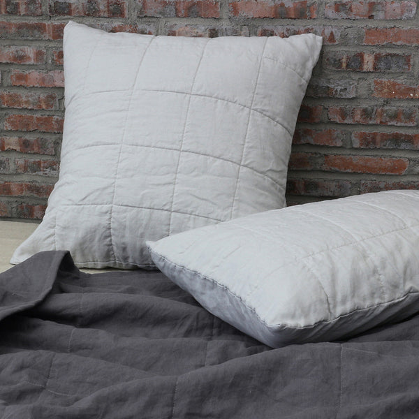 Euro Quilted Pillowcase Stone Grey