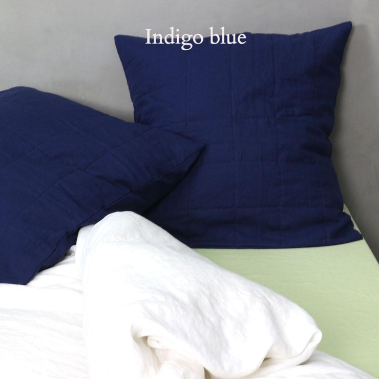 Quilted Linen Pillowcase Indigo Blue