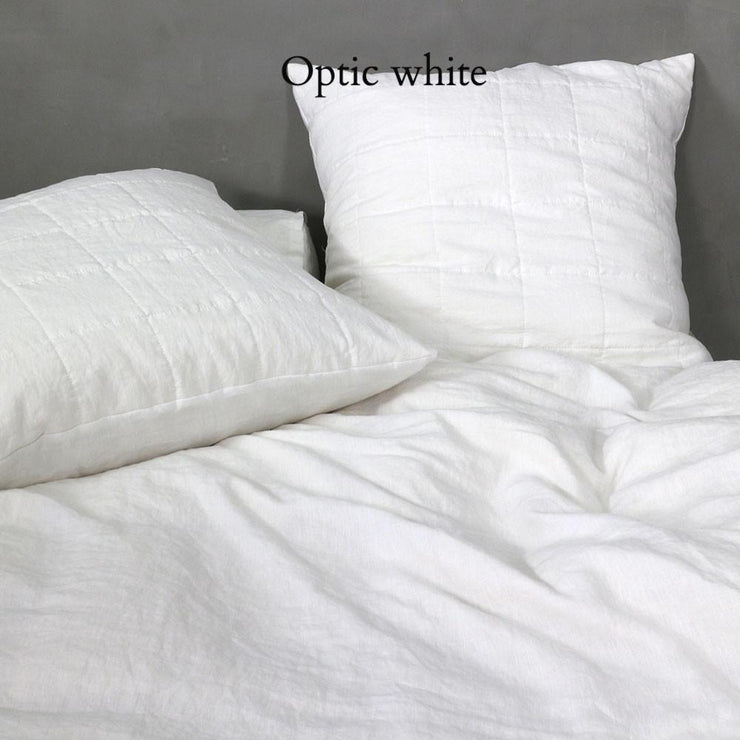 Quilted Linen Pillowcase Optic White