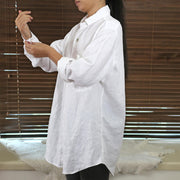 Women's Linen Long Sleeves Button Down Shirt 02 - Linenshed