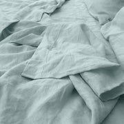 Close up border of Icy Blue Pure Linen Flat Sheet - Linenshed