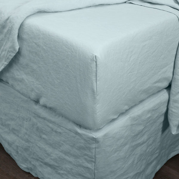 Pure Linen Fitted Bottom Sheet Icy Blue