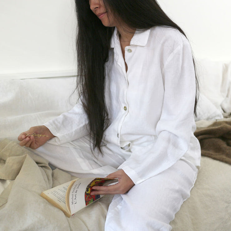 Classical Natural Linen Women Pajamas Set