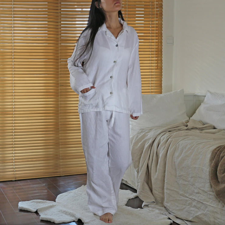 """Joan"" Soft Natural Linen Pyjama Set"