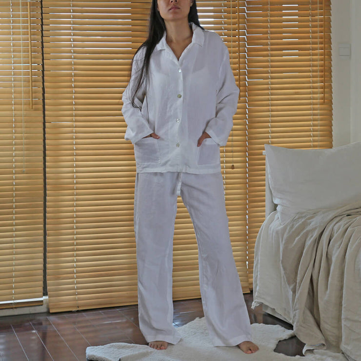 Stonewashed Belgian Natural Linen Pyjama Set for women