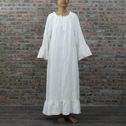 Raglan Long Night Dress Soft Washed Linen