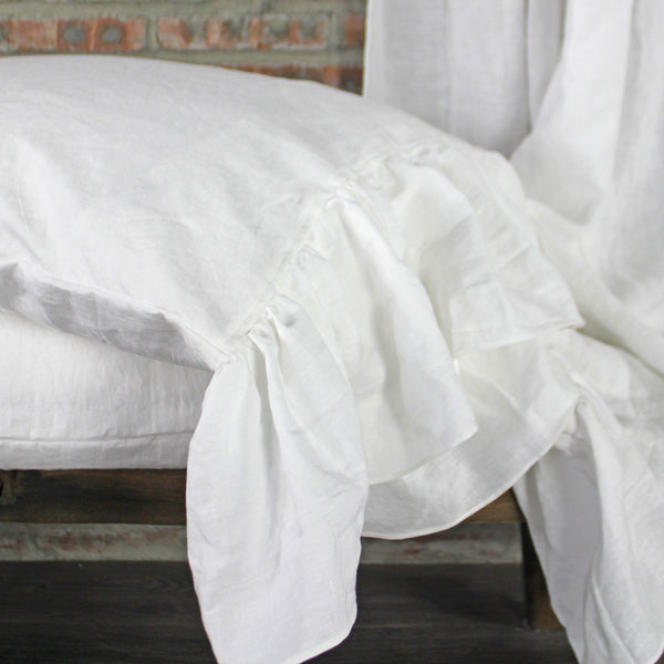 Ruffled Linen Pillow Case Optic White Linenshed