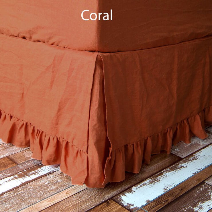 Ruffled Bed Skirt Coral