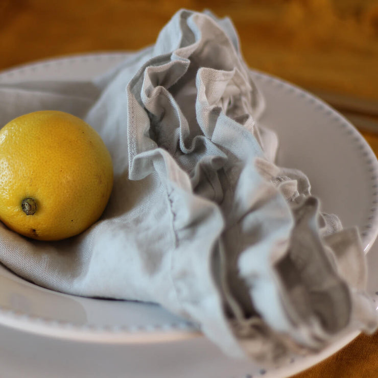 100% Pure Washed Linen Ruffles Table Napkins - Linenshed