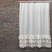 Ruffled Shower Linen Curtain in Ivory