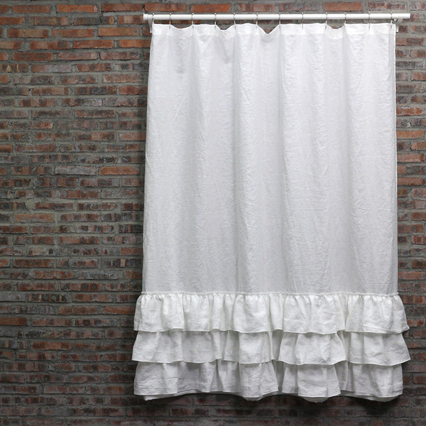 Washed Layered Ruffles Linen Shower Curtain | Fabric Shower curtains ...