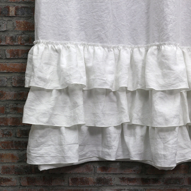 Closeup Ruffled Shower Linen Curtain in Optic White