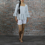 Square Neck Ruffled Top - Linenshed -1