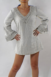 Short Ruffled Night Dress Soft Washed Linen